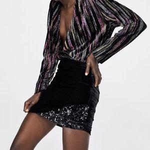 NWT Zara Velvet Sequin Mini Draped Skirt